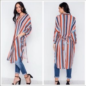 Duster Long Cardigan Dress Stripe Belt Adj Sleeves